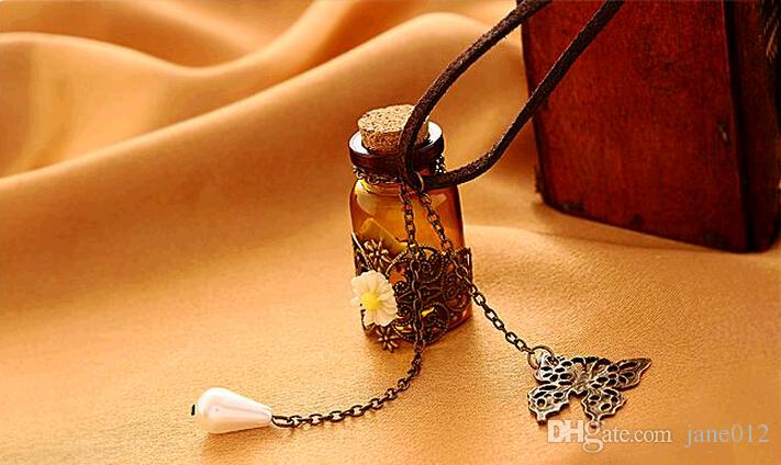 Carve Patterns or Designs Hide Rope Long Necklaces Sweater Chain Cork Retro Flower Wishing Bottle Pendants Jewelry for Girls Gift
