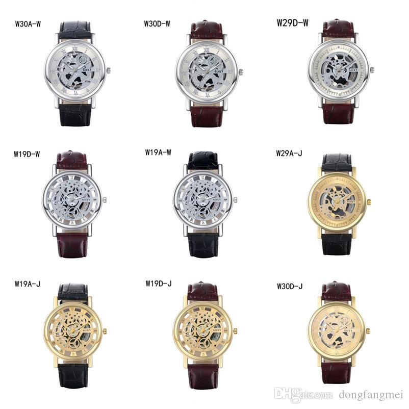 Best gift Quartz Wrist watches fashion business strap watch,power reserve hollow analog models mens watches 6 pieces a lot mix color DFMWH6