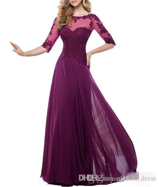 Cheap Elegant Chiffon Mother Of Bride Dresses Sheer Jewel Neck Lace Appliques Long Formal Evening Occasion Dresses Custom Made_