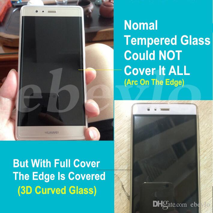 New Arrival!Huawei P9 3D Curved Glass! Full Cover! Top Quality, with Retail
