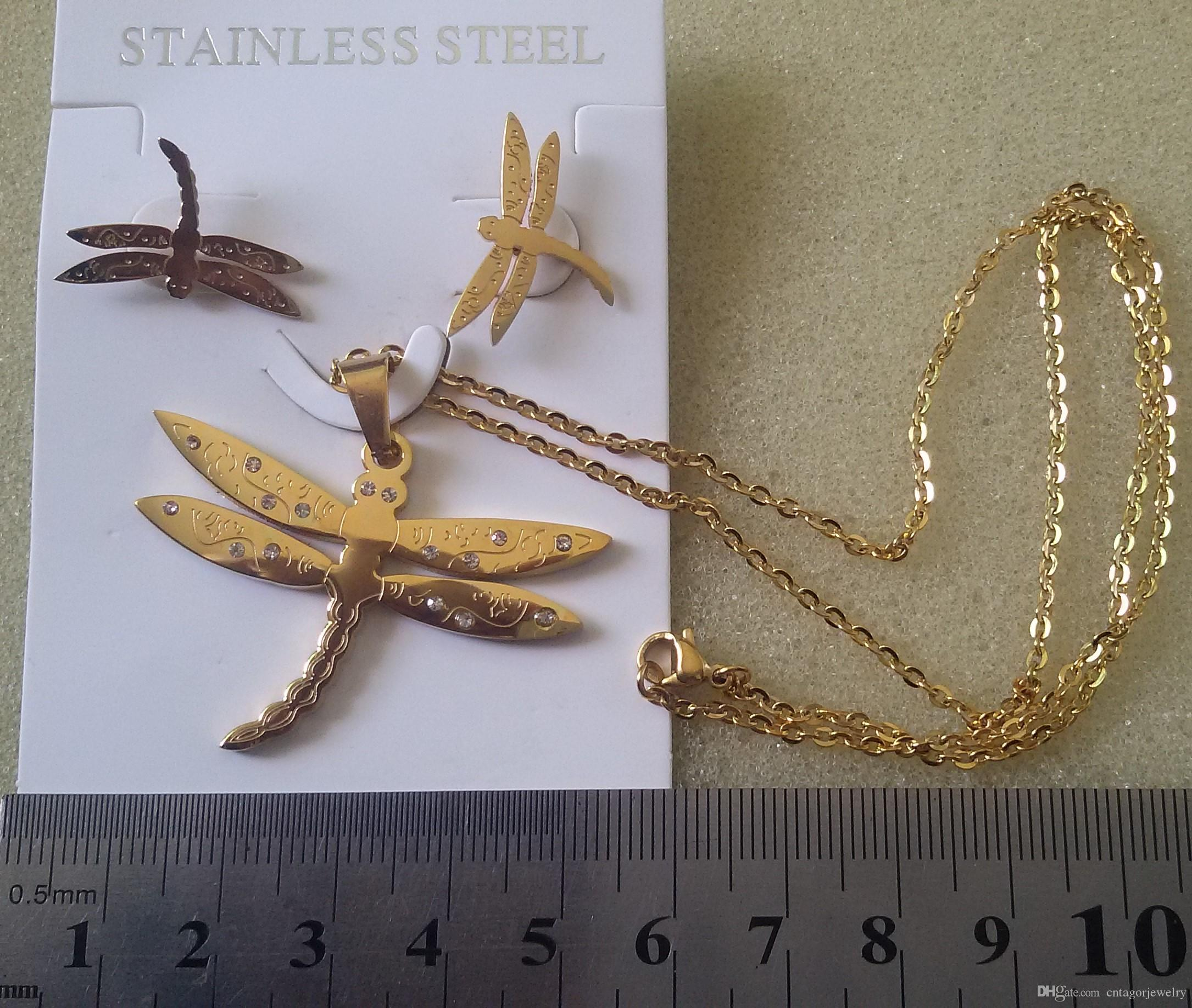New Arrival Women's Lady 316L Stainless Steel Gold Plating Dragonfly Earrings Necklace Jewelry Sets
