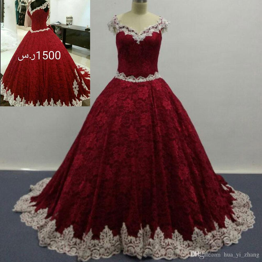 Real Images 2016 Wine Red Ball Gown Full Lace Wedding Dresses V Neck