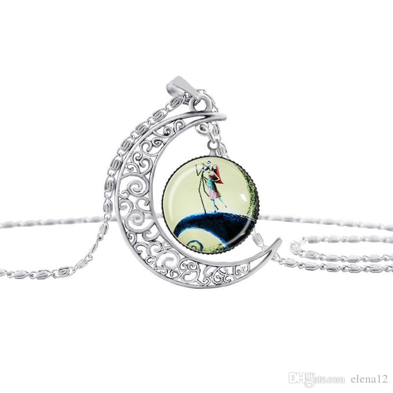 Nightmare Before Christmas time gem necklace Cabochon pendants glass necklaces jewelry for women Christmas valentine's day gift 161459