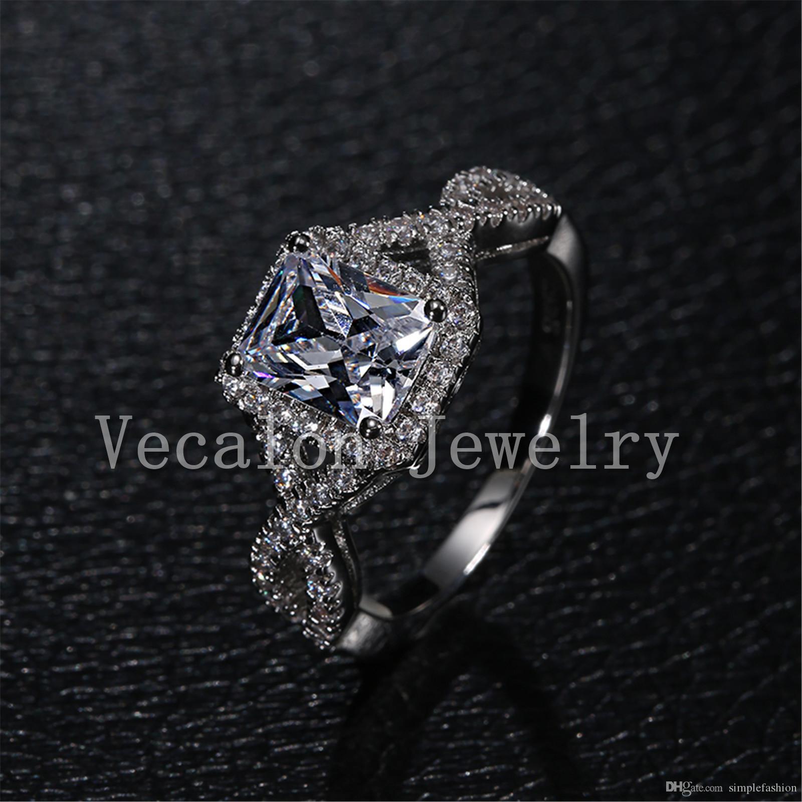 여성을위한 Vecalon 패션 수제 약혼 결혼 반지 공주 컷 4CT Cz를 시뮬레이션 다이아몬드 925 스털링 실버 반지