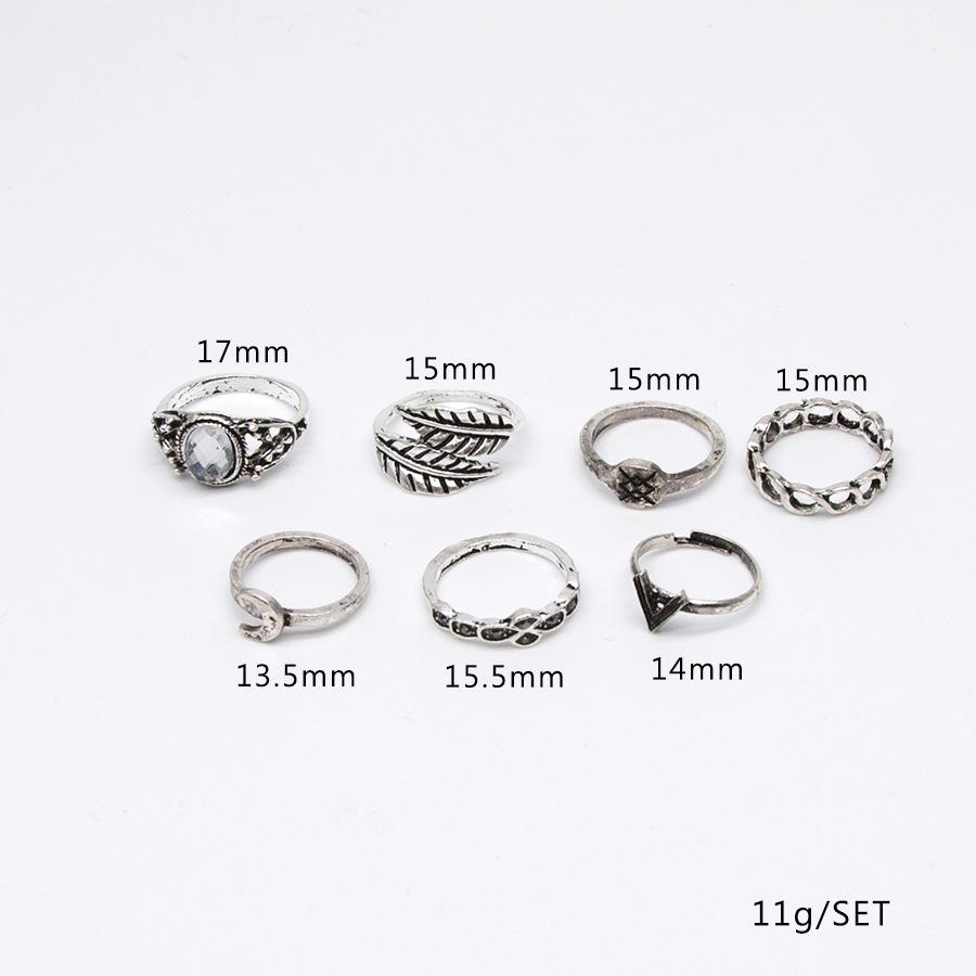 foreign trade new folk style retro Moon leaves V word 7 piece combination joint diamond ring
