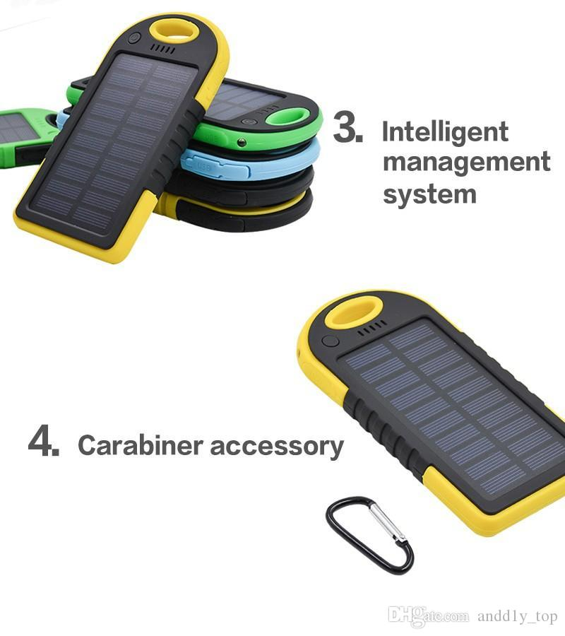5000mAh قوة الطاقة الشمسية البنوك والكهرباء للصدمات للماء ضد الغبار المحمولة تجدد powerbank الشمسية بطارية خارجية للجميع الهواتف الذكية