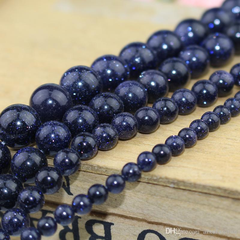 Natural Blue SandStone Beads Round Loose Stone Beads 4 6 8 10 12 MM Pick Size For Jewelry Making Blue Sand Bead