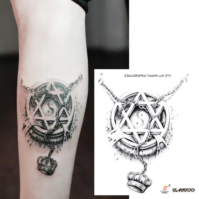 temporary tattoos 3d star circle chain crown arm fake transfer tattoo stickers hot sexy men. Black Bedroom Furniture Sets. Home Design Ideas