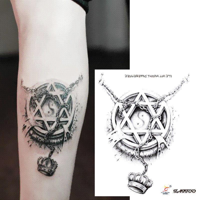 Temporary Tattoos 3d Star Circle Chain Crown Arm Fake Transfer ...