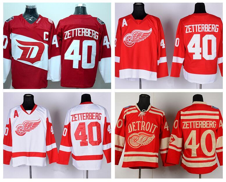 half off 5c308 8bd8e Henrik Zetterberg 40 Detroit Red Wings Stadium Series Ice Hockey Jerseys  Winter Classic For Sport Fans Home Red Alternate White