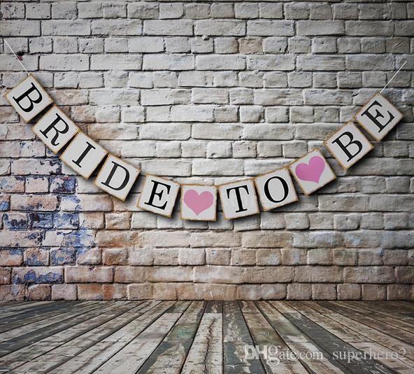 Bridal Shower Bunting Banner Hen Night BRIDE TO BE Banners Burlap Rustic Vintage Party Hanging Decoration flags festive supplies hot gift