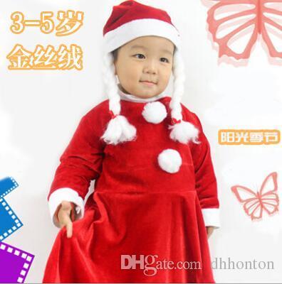 pleuche Santa dress clothes 3-5 years girls Children's Christmas costumes show one set the braid hat dress belt CT06