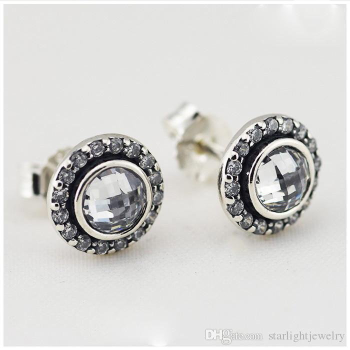 2018 newest Full clear Cubic Zirconia Stud Earrings 100% 925 Sterling Silver Earrings Fits for pandora Jewelry silver charms Christmas women
