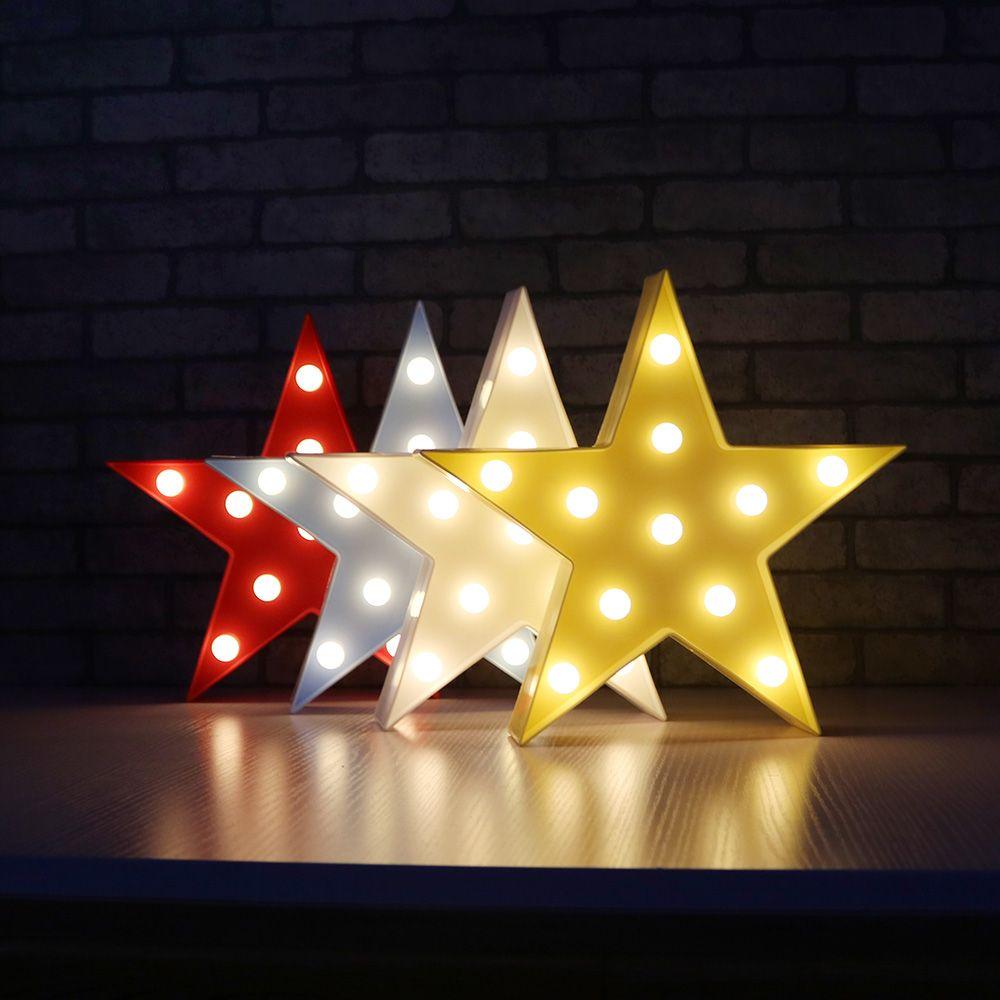 Acheter lettres light star shape led night light marquee lumière lampe de nuit à piles led pour la décoration de noël à la maison de 12 07 du teamwing