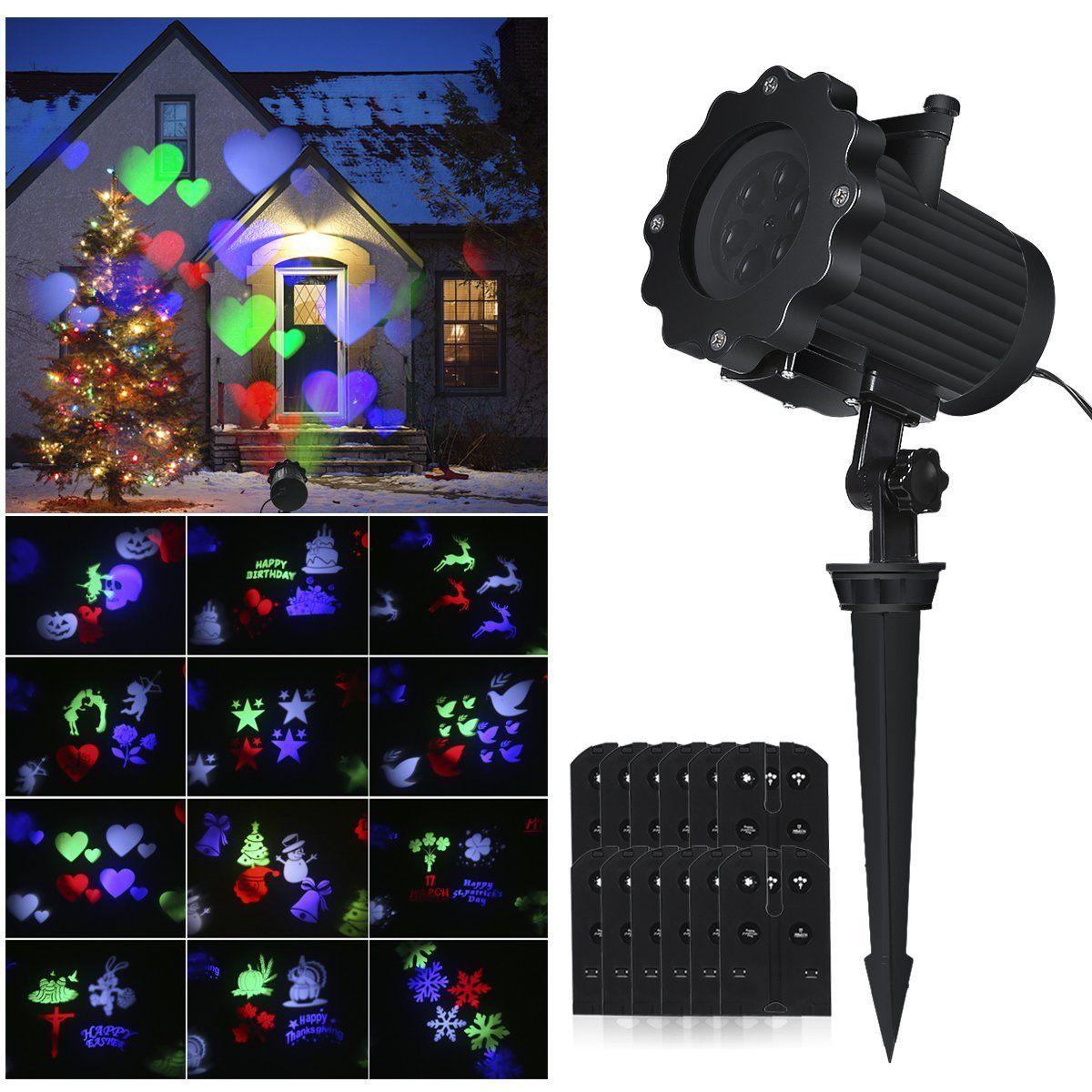 Christmas Light Projector.2019 Led Christmas Light Projector Outdoor Rotating Light Projector Snowflake Spotlight 12 Patterns Sparkling Landscape Light Show For Wedding From