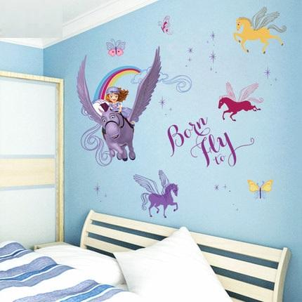 Cute Flying Horse Princess Wall Stickers Decals Girl Animals Adhesive Vinyl  Wallpaper Mural Kids Home Bedroom Nursery Diy Decor Stickers For Walls  Stickers ...