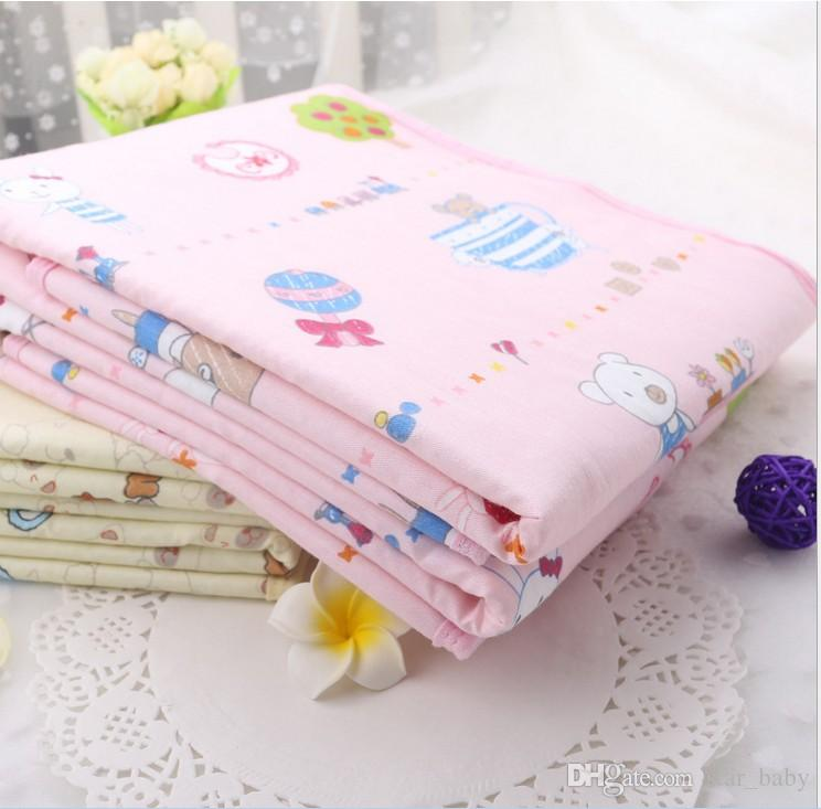 S-M-L-XL Pink Yellow Blue Cotton Portable Urine Mat Waterproof Baby Infant Bedding Changing Pads Nappy Cover Pad K7068