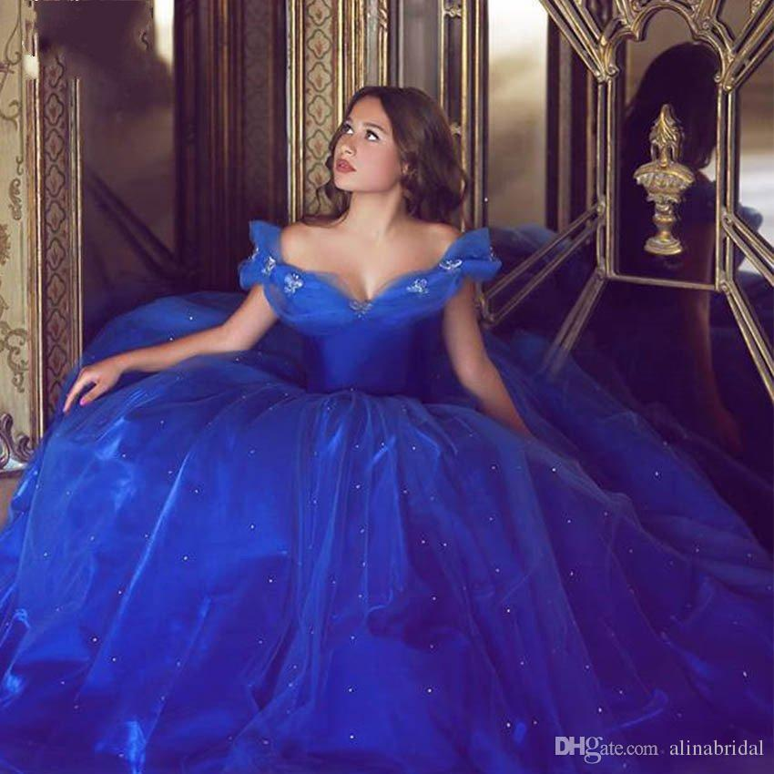 2016 Cinderella Blue Ball Gown Prom Dresses Off Shoulder Tulle Princess Formal Party Gowns Beaded Elegant Custom Made Vestidos De Festa Discount Prom Dress Fashion Prom Dresses From Alinabridal 127 22 Dhgate Com