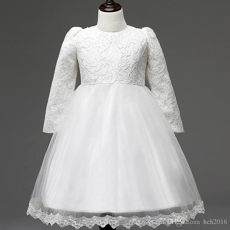 Baby & Kids Clothing Flower Girls' Dresses wedding princess white long sleeve Ball Gown Lace Hook bud silk TuTu skirt Dress #C174