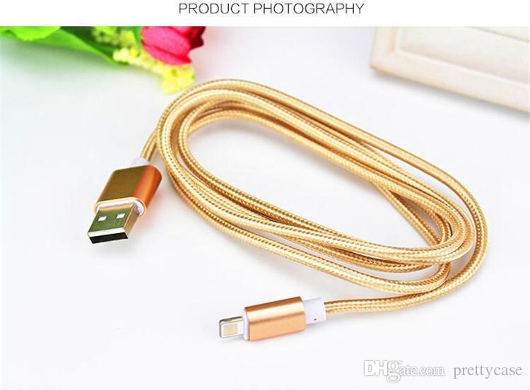 Metallhafen-Nylonborten-Mikro-USB-Daten-Synchronisierungs-Aufladeeinheits-Kabel für Samsung-Galaxie S7 S6 S5 I5 I6 HTC Fahrwerk Smartphone 1.5M 5 Füße