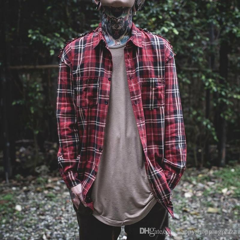 2018 vintage plaid shirts for men hip hop raw edge long for Red and green checked shirt