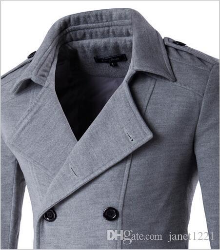 Plus Size Winter Men Trench Coat Double Breasted Pea Coats Oblique Pockets Lapel Neck Slim Outerwear For Men J160951
