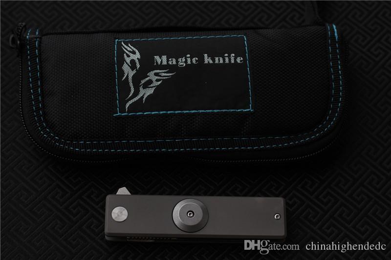 MAGIC Titanio aleación dedo punta giroscopio de acero D2 cuchillo plegable, acampar al aire libre bolsillo bolsillo fruta cuchillo EDC herramientas