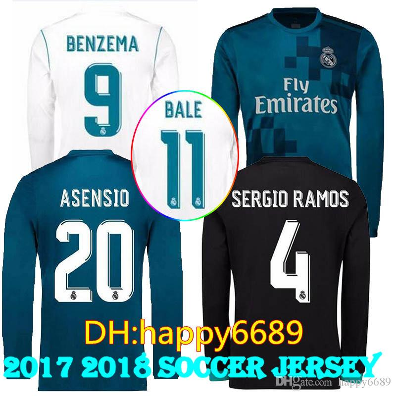 11e683db8f172 Nuevo Real Madrid Long 2018 Jersey Asensio Real Camiseta De Fútbol Ronaldo  Bale Sergio Ramos Isco Kroos Soccer Jerseys 17 18 Full Long Sleeve Por  Happy6689