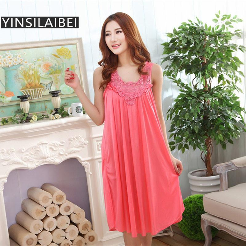 c730d5b0dd6d 2019 Wholesale Summer Night Dress Sexy Nightgowns Women Nightwear Lace  Satin Ice Silk Long Nightgowns Plus Size Sleepwear Sleep Dress SR003 35  From Roberr