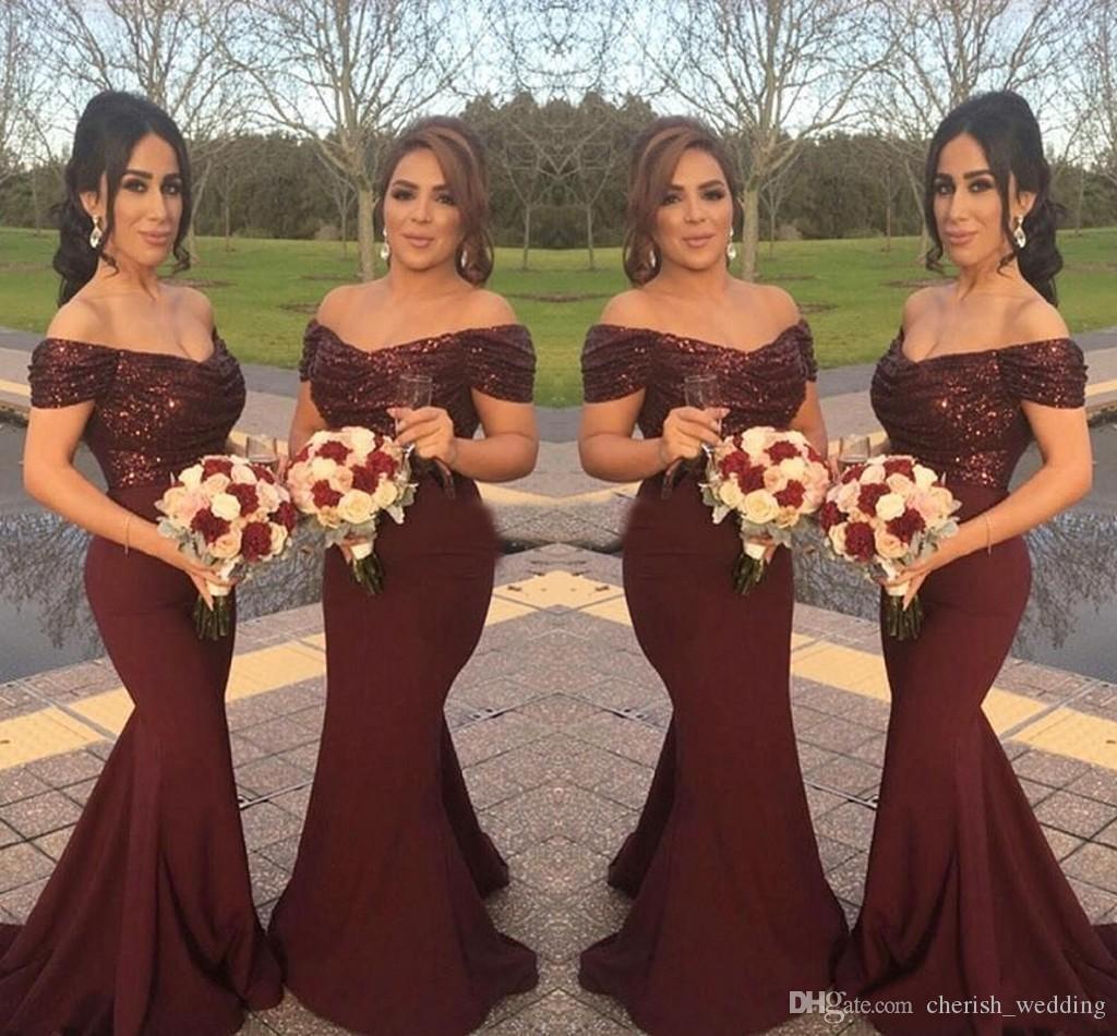 Borgonha País Da Dama de Honra Vestidos de Sereia Lantejoulas Top Elastic Saia De Cetim Fora do Ombro Festa de Casamento Vestidos de Dama de Honra Plus Size