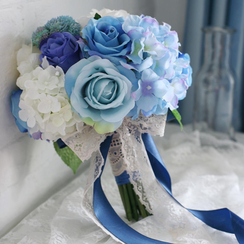 Blue Wedding Bouquet Purple Silk Rose White Hydrangea Bridal