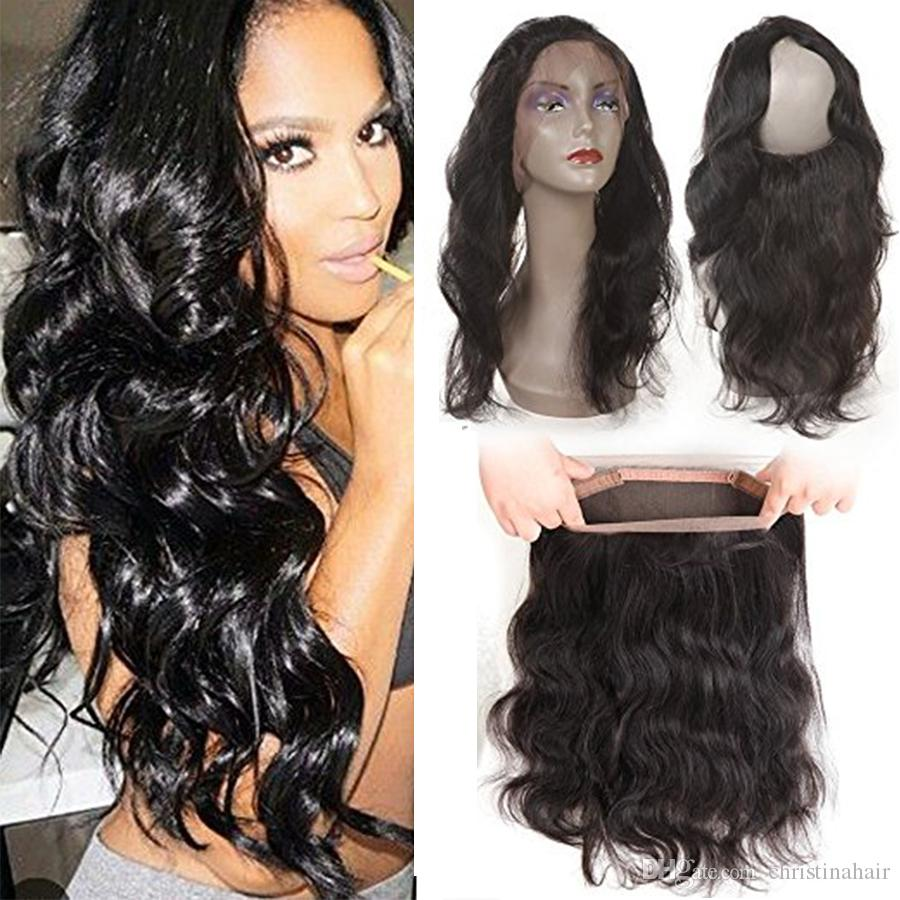 360 Lace Frontal 22*4*2inch Brazilian Virgin Unprocessed Human Hair Body Wave Full Lace Band Frontal Closure With Baby Hair Natural Color