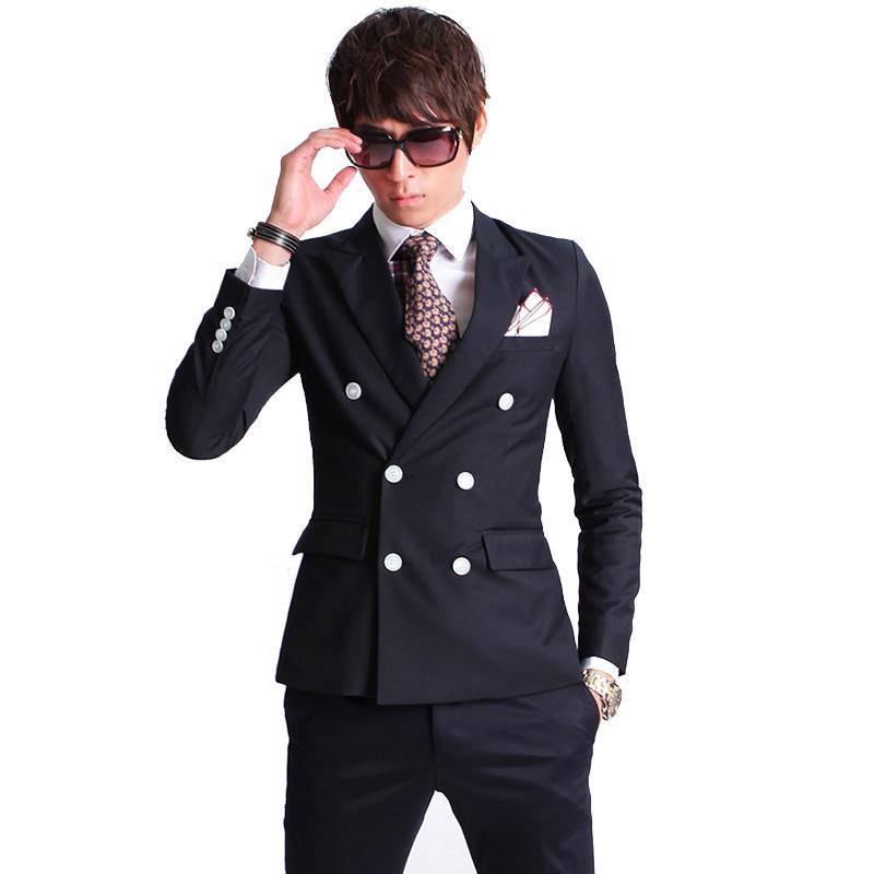 New Fashion Brand Uomo Blazer Uomini Doppio abito da Bresetted Set Casual Abito da sposa Slim Fit casual Casual Slim Abito da sposa