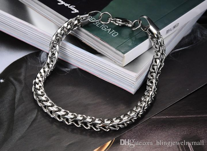 Fashion Jewelry Stainless Steel Titanium Silver Chains Men Bangle Bracelet Male Charm Thick Wristband Bracelet FL672