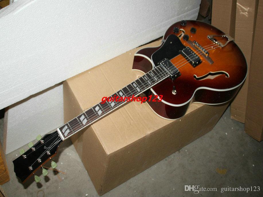 Sunburst personalizzato chitarra elettrica Jazz chitarra strumento musicale di trasporto libero dalla Cina
