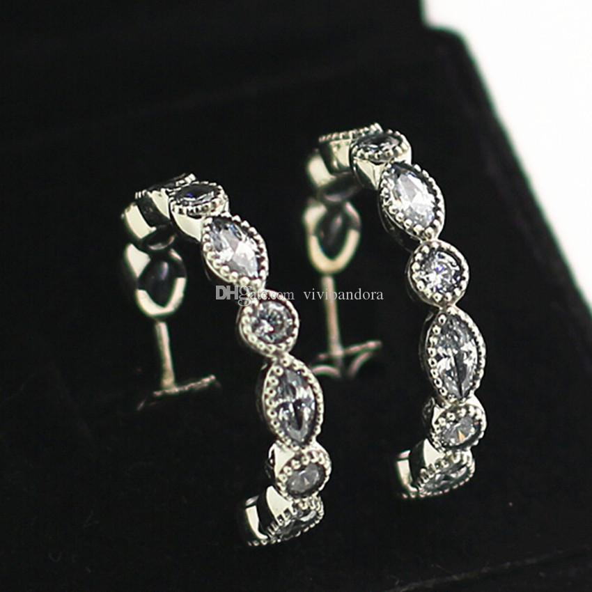 8022a3999 2019 High Quality Fashion Jewelry 100% 925 Sterling Silver European Pandora  Charm Jewelry Alluring Brilliant Marquise With Clear CZ Hoop Earrings From  ...