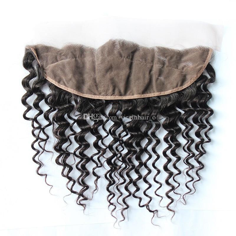 8A indiani capelli ricci profondi con chiusura frontale in pizzo 4 pezzi lotto orecchio all'orecchio frontali in pizzo con peli di capelli e peli umani