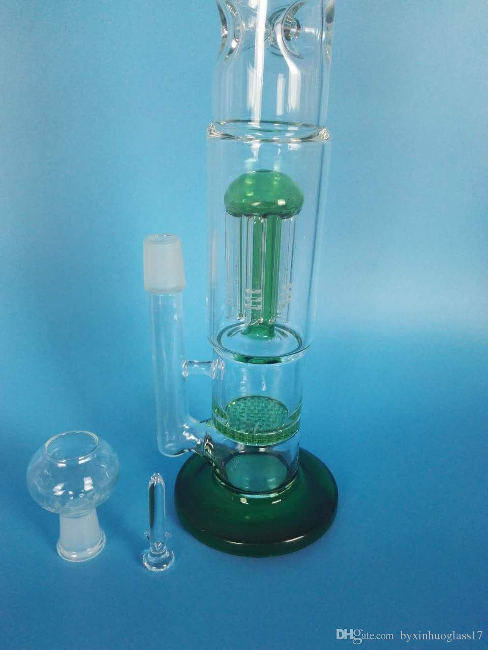 O envio gratuito de vidro garfo de vidro de vidro de filtro de favo de mel da marca de qualidade da tubulação de água, h: 38 cm d: 5cn /4.5 cm. Verde