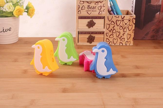 Japanese Stationery Cute Penguin Plastic Metal Random Color Double Holes Pencil Sharpeners Office & School Supplies Kawaii Stationery
