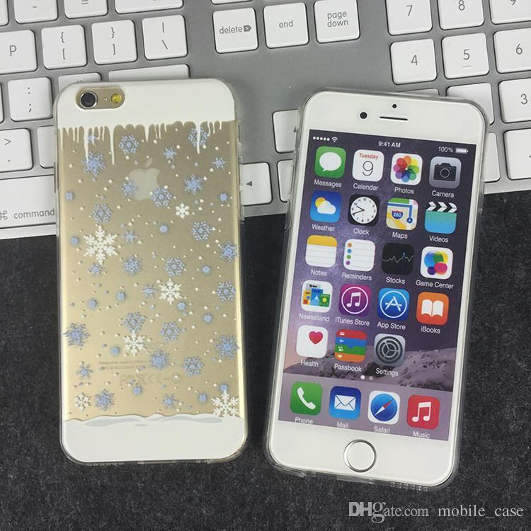 iPhone X Clear Custodia morbida in TPU Custodia in silicone albero di Natale Ultra sottile fiocco di neve Iphone 8 7 Plus 6S Plus 6S 5S