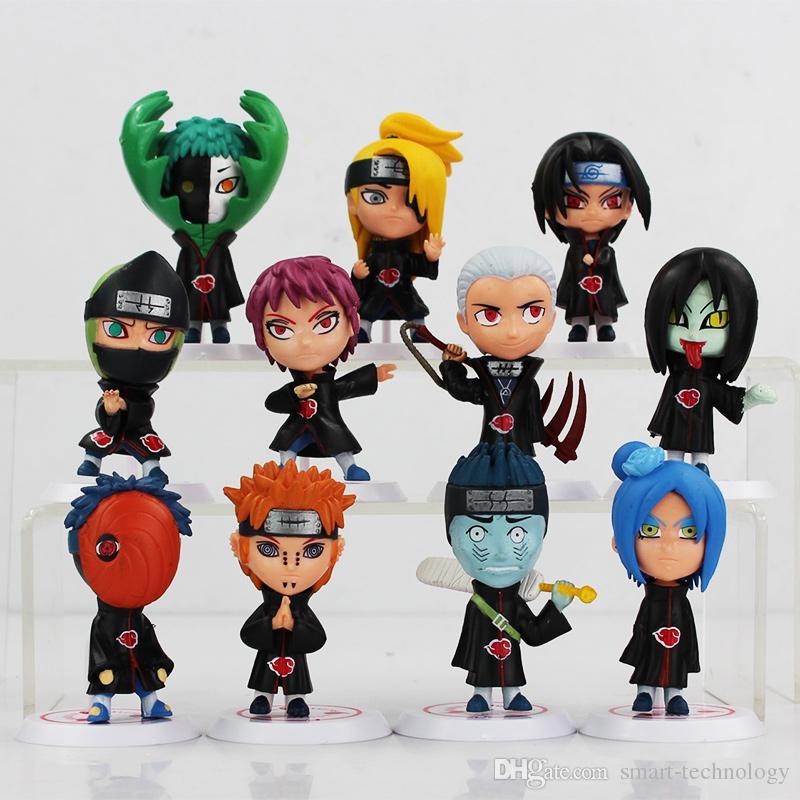 Anime japonés Naruto Akatsuki PVC figura coleccionable de Juegos de construcción de la muñeca 6.5cm / set regalos para el envío de Navidad del cumpleaños gratis
