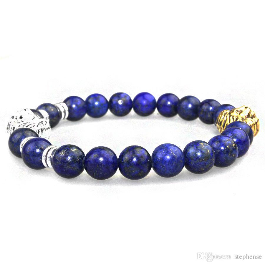 SN0637 Double Lion Kopf Armband Silber Gold Löwenkopf Perlen Armband Fashion Lapis Armband für den Menschen