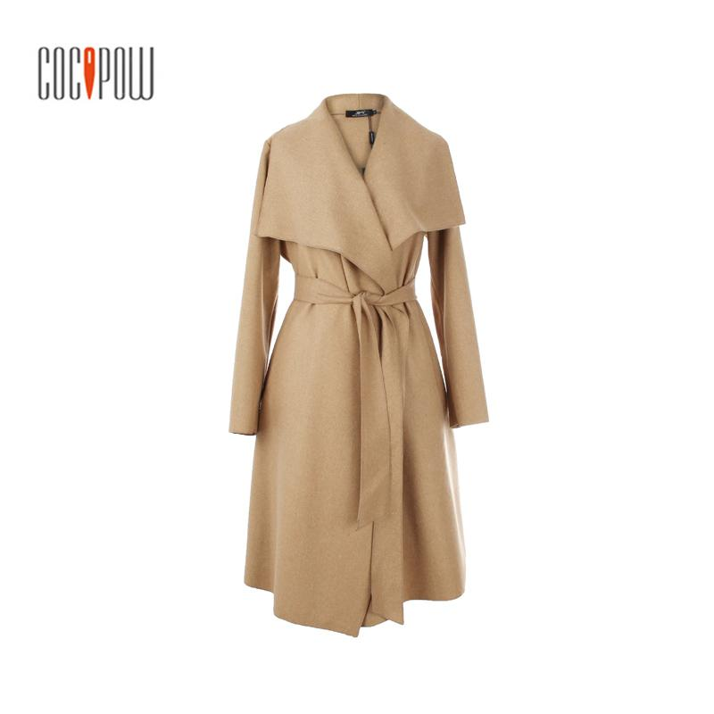 2017 New Autumn High Fashion Women Wool Blend Trench Coat Casual Long Outerwear plus size S-XL Loose lady Clothing