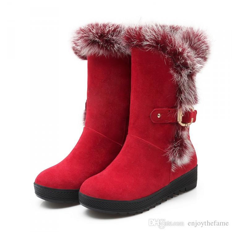 2016 winter Women's Snow boots Mid Calf platform boots High Quality Nubuck leather Rabbit Fur ladies boots