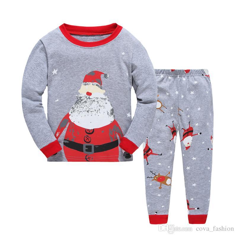 Long Sleeve Girls Boys Kids Cotton Christmas Pajama Suits Sleepwear Fashion For Christmas 2-7 Years