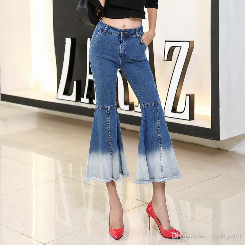 528f7ae972 Compre 2018 Flare Jeans Botas De Cintura Alta Para Mujer Pantalones De  Corte De Mezclilla Pantalones Elásticos Pantalón Elástico Azul Hasta El  Tobillo Jeans ...