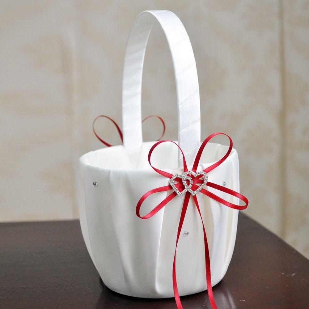 Flower Girl Basket for Wedding Decoration Party Ceremony Festival DIY Bowknot Satin Basket Wedding Supplies