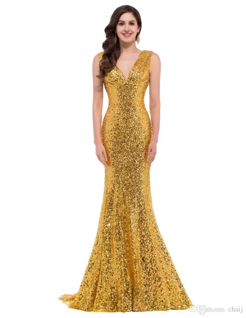 Großhandel Luxus Langes Abendkleid Pailletten Meerjungfrau ...