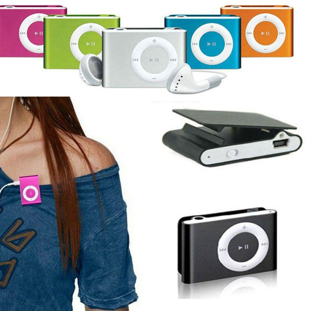 2016 Mini Clip Reproductor de Mp3 Sin pantalla Metal Style Support Micro / SD Card 1-16GB con auriculares USB Cables coloridos con cajas de cristal