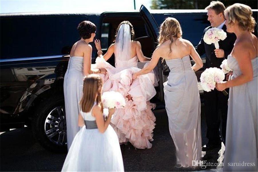 Кристаллы бисером створки Сексуальная милая шнуровке назад Pleat свадебные платья суд поезд старинные Русалка свадебные платья румяна свадебные платья